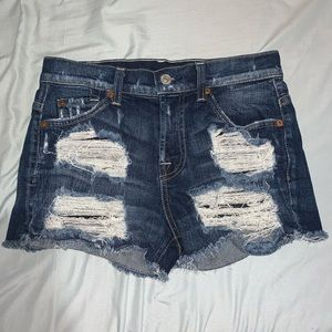 7 For All Man Kind High-Rise Distressed Shorts